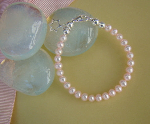 Natural Freshwater Cultured Pink or White Pearls Baby Cross Charm Bracelet