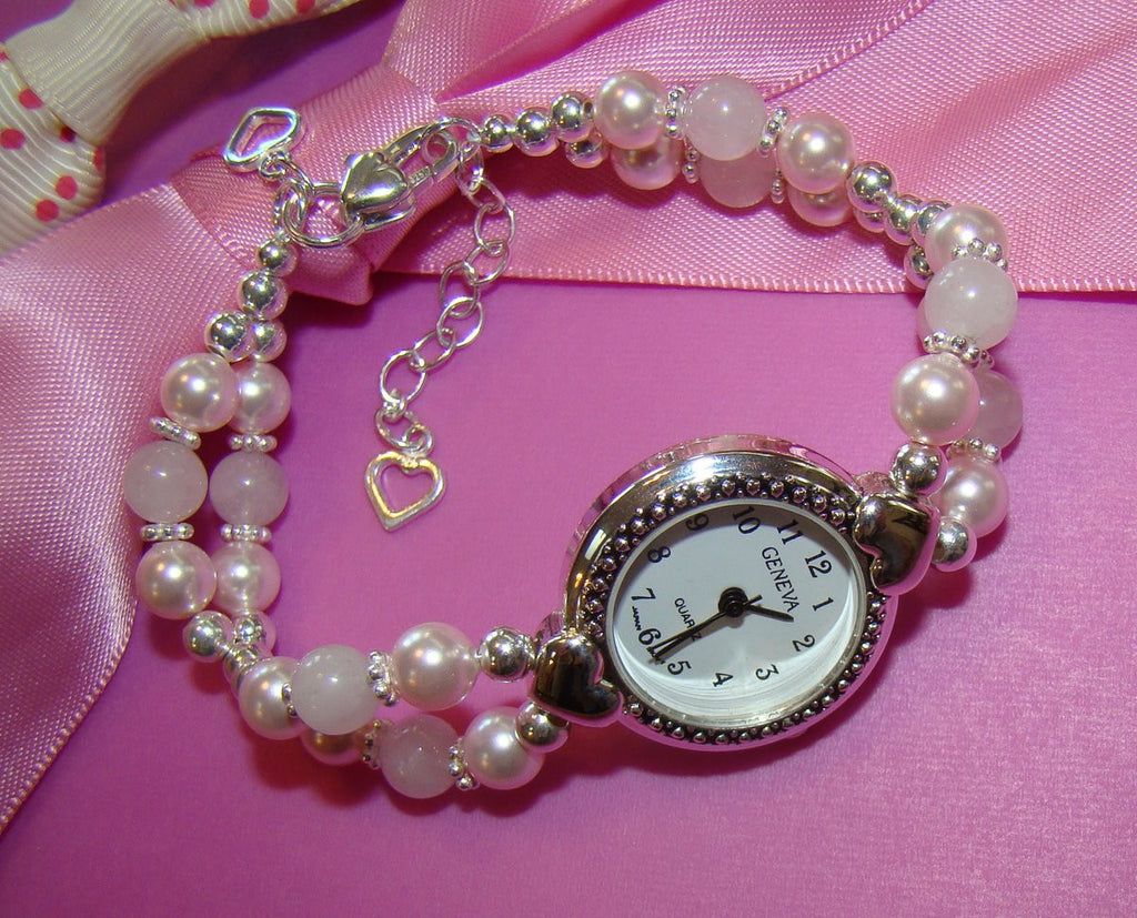 Soft Pink Freshwater Pearls and Rose Quartz Gemstone Ladies Beaded Watch
