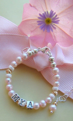Pink Freshwater Pearls and Gold Twists Silver Name Bracelet