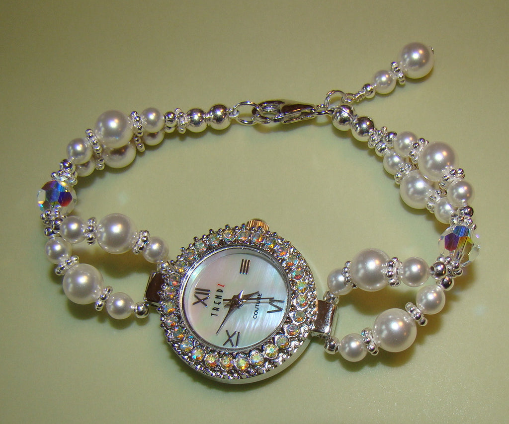 All White Crystal Pearls Rainbow Crystals Beaded Ladies Watch