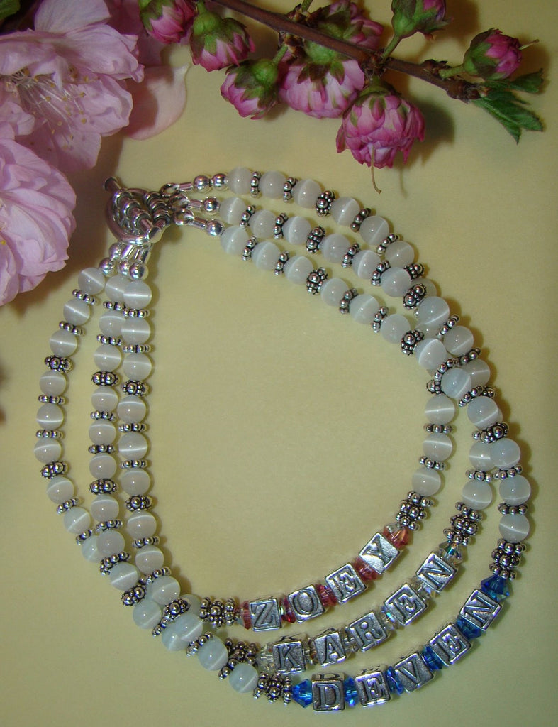 All White Cats Eye Family Birthstone Double Triple Strand Bracelet
