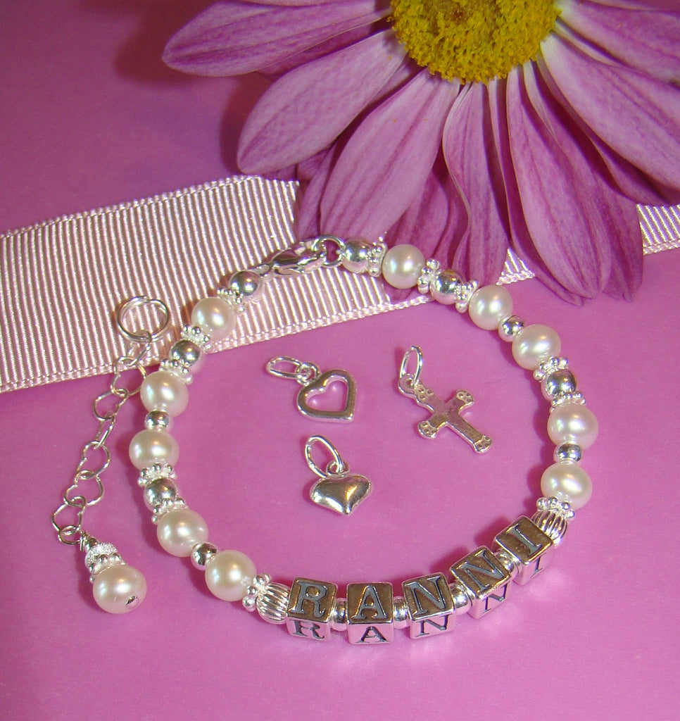 Freshwater Cultured Round Pearls Sterling Silver Charm Name Bracelet