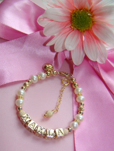 Gold Filled 20K Pearl Personalized Monogram Initial Baby Child Bracelet