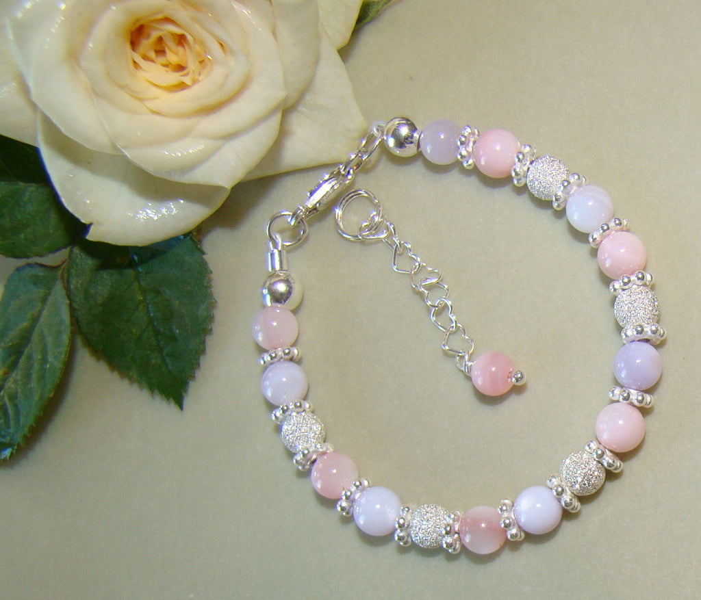 Pretty Soft Pastel Girly Pink Purple Sparkling Sterling Silver Stardust Bracelet