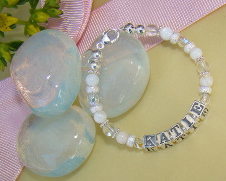 White Mother of Pearl Crystal Quartz Stardust Birthstone Name Bracelet