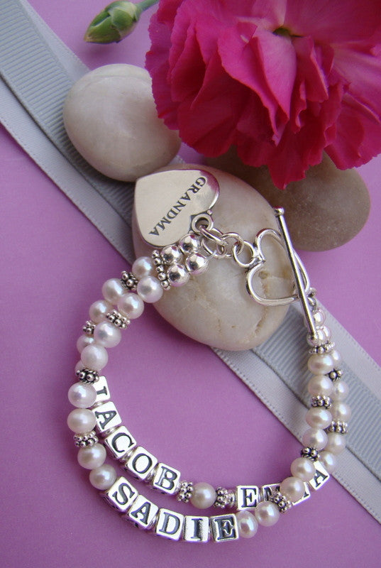 Cultured White Round Pearls Bali Silver Double Multiple Mother's Name Personalized Custom Bracelet
