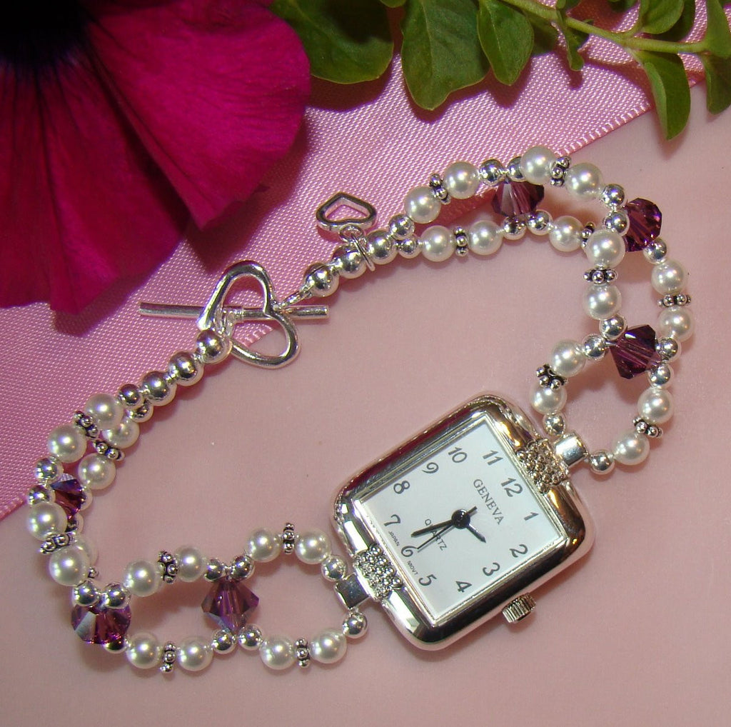 Sterling Silver Ladies Square Geneva Beaded Birthstone Watch