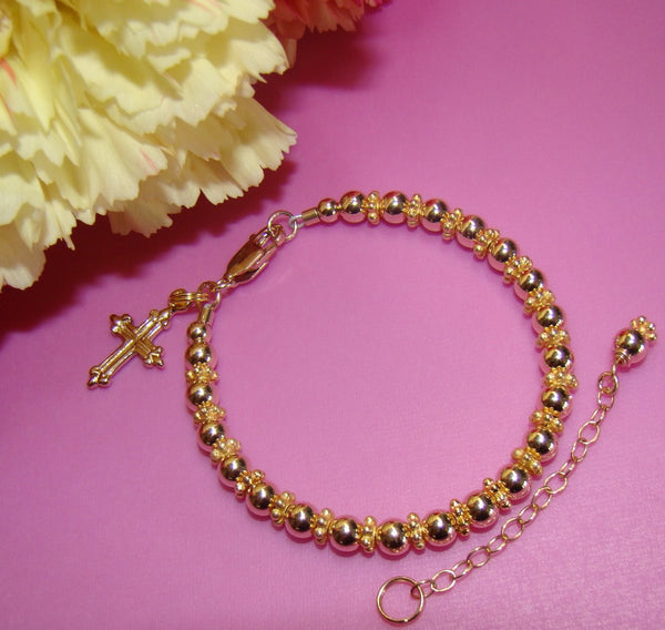 All Gold Filled Cross Baptism Christening Religious Bracelet - Can Add Initial