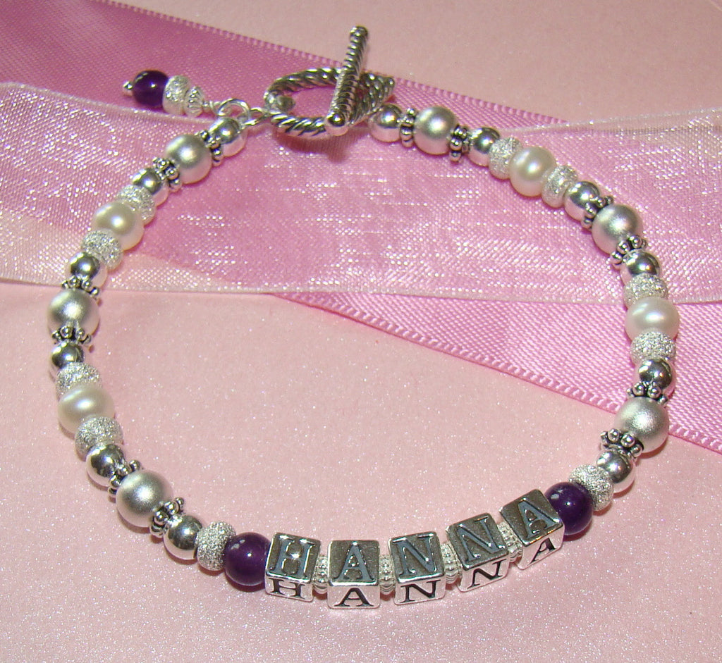 Mothers Multiple Strand Traditional Family Natural Gemstone Amethyst Birthstone Name Bracelet