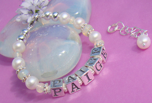 October Genuine White Ethiopian Opal Gemstone Birthstone Name Bracelet