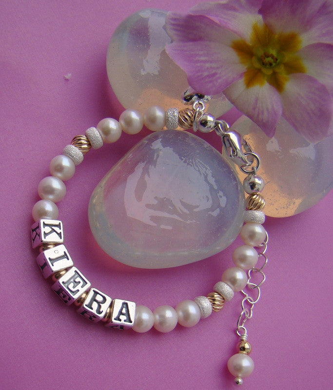 Natural White Pearl Gold Filled Twists and Silver Name Bracelet