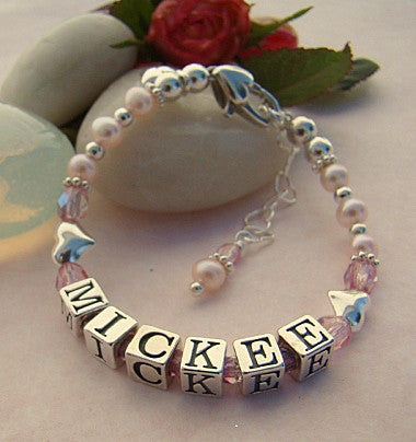 Light Pink Freshwater Pearls Sterling Silver Puffed Hearts Name Letter Baby October Rose Bracelet