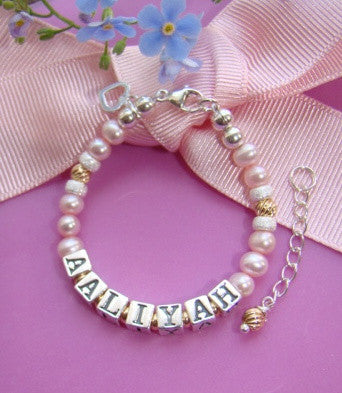 Natural Pink Pearls and Gold Filled Twists Baby Child Name Bracelet