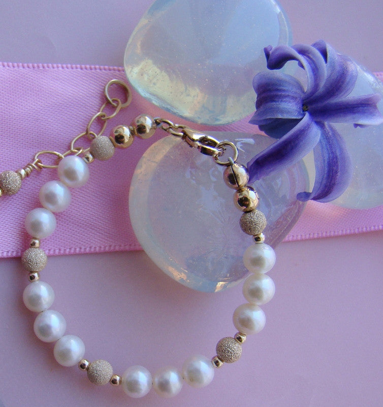 Pearls Gold Stardust Gold Filled Baby Child Christening Religious Baptism Bracelet