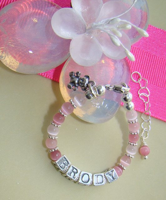 Pink Cats Eye Little Girl Teddy Bear Charm Bright Sterling Silver Bracelet