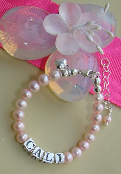 Classic Light Pink Freshwater Pearls Name Bracelet