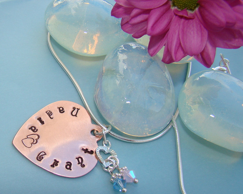 Copper Heart Story Book Love Sweetheart Birthstone Name Pendant Sterling Necklace