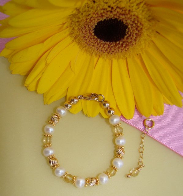 Gold 20K Filled Citrine Gemstone November Birthstone Bracelet