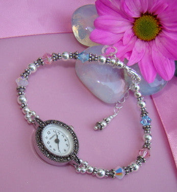 Mothers Sterling Silver Multiple Family Crystal Birthstone Watch
