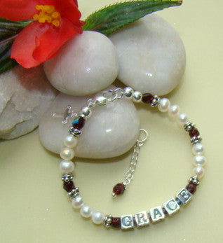 Sterling Silver White Pearl Fire Czech Birthstone Baby Child Name Bracelet