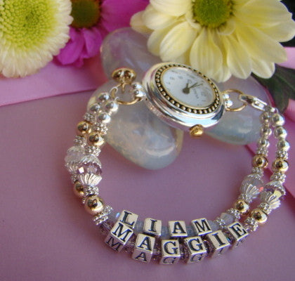Gold Filled Sterling Silver Mothers Mom Name Personalized Birthstone Watch