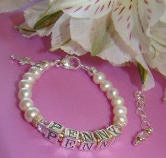 Freshwater White Pearls Gold Filled Sterling Birthstone Cross Charm Baby Name Bracelet