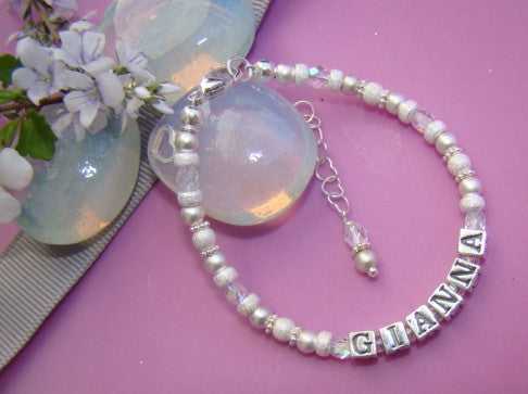 Sterling Silver Bright Stardust Birthstone Name Bracelet Matte Non Tarnish Beads