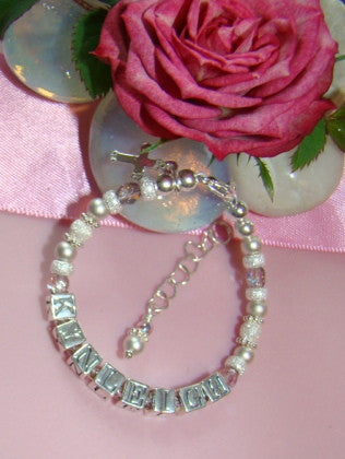 Precious Metal All Matte Stardust Sterling Silver Birthstone Name Bracelet
