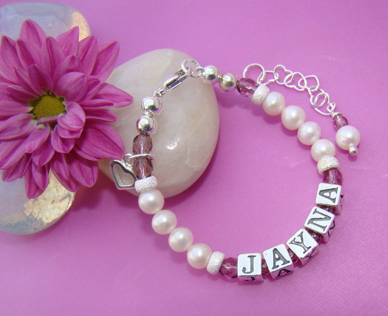 Freshwater White Pearls and Fire Czech June Light Amethyst Birthstone Crystals Personalized Name Bracelet
