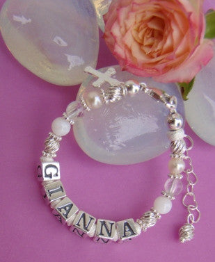 White Pearl Quartz Gemstones April Birthstone Name Bracelet