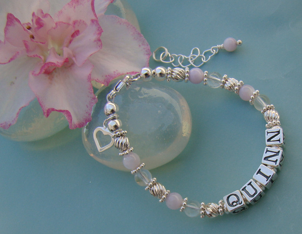 Purple Soft Lavender Quartz Gemstone Girls Personalized Name Bracelet