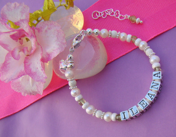 Freshwater White Pearl Peridot Gemstone August Birthstone Name Bracelet
