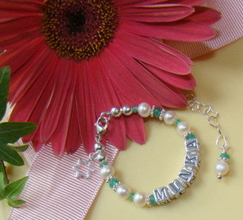 Emerald May Birthstone Pearl Baby Child Name Charm Bracelet