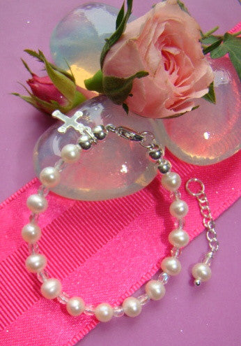 Freshwater Pearls Tiny Crystals Baby Child Cross Charm Baptism Religious Bracelet