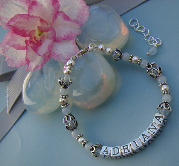 Aquamarine March Gemstone Birthstone Sterling Silver Name Personalized Bracelet