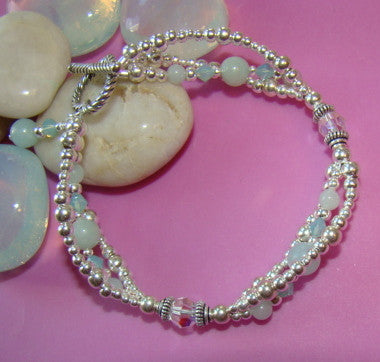 Aquamarine Triple Strand Ladies Birthstone Toggle Sterling Silver Bracelet