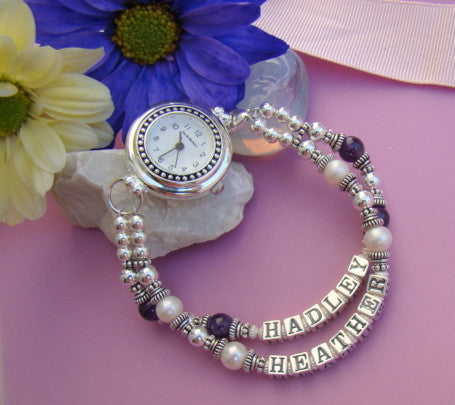 Mothers Name Personalized Silver Natural Gemstone Birthstone Watch