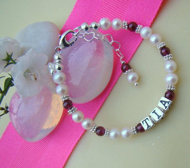 Pearls Garnet Natural Gemstone January Birthstone Name Bracelet