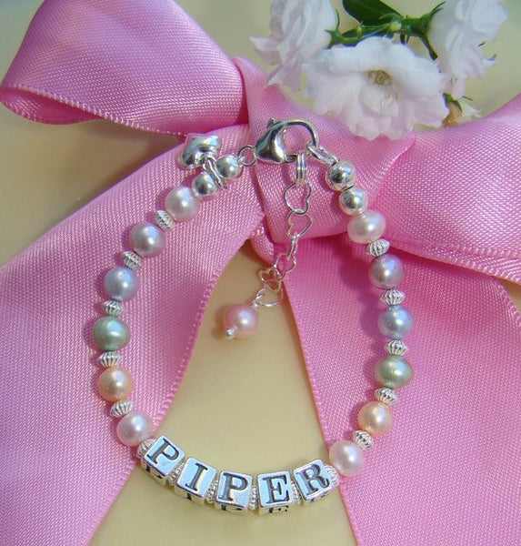 Multicolor Pastel Freshwater Cultured Pearls Name Bracelet
