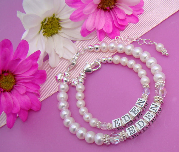 Mother Daughter Cultuted White Round Pearl Matching Birthstone Name Bracelets