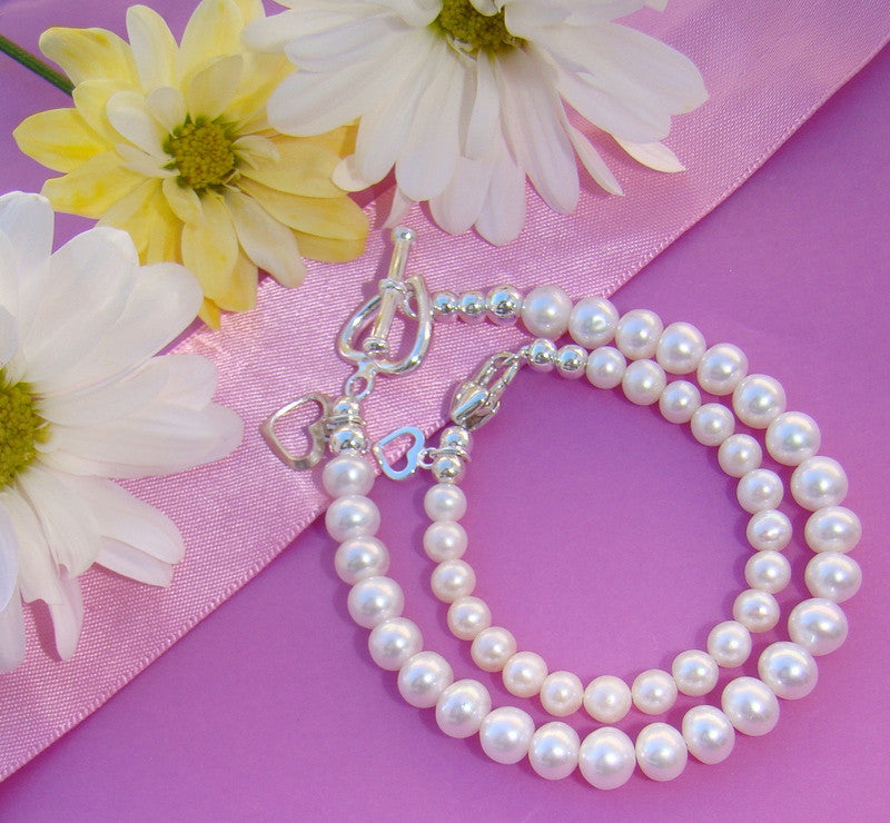 Mother and Daughter Classic White Freshwater Pearls Bracelet Set - Can Personalize
