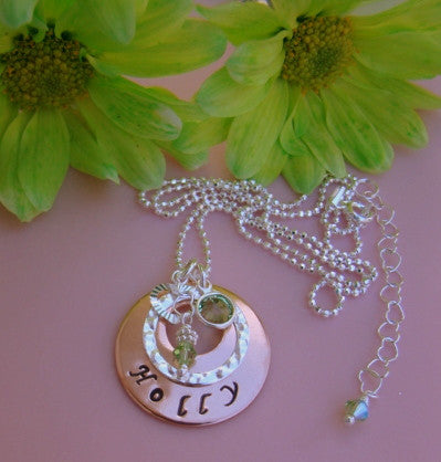 Hand Stamped Copper Sterling Silver Name Peridot August Light Green Birthstones Pendant Necklace