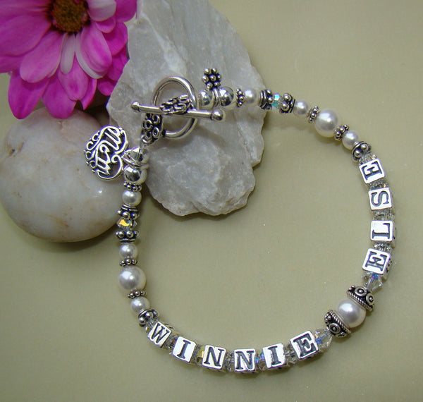 Mothers White Pearl and Swarovski Crystal Family Birthstone Bracelet