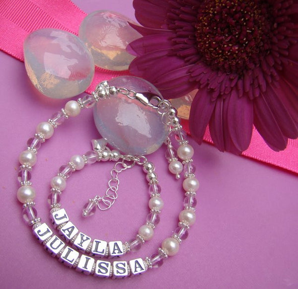 Mother and Daughter Freshwater White Pearls April Crystal Gemstone Custom Name Bracelets
