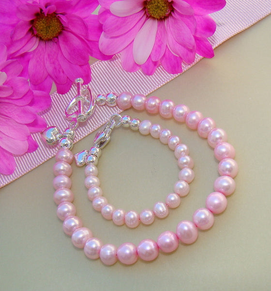 Mom and Daughter Classic Pink Freshwater Pearls Bracelets - Can Personalize