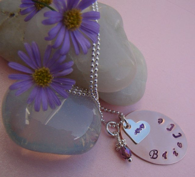 Copper Hand Stamped Sterling Silver Heart Birthstone Drop Necklace