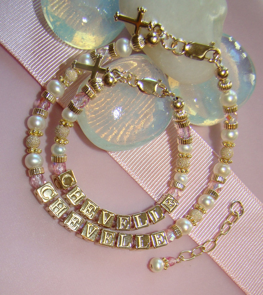 Mother and Daughter All Gold Filled Pearl Birthstone Monogram Initial Baptism Bracelets