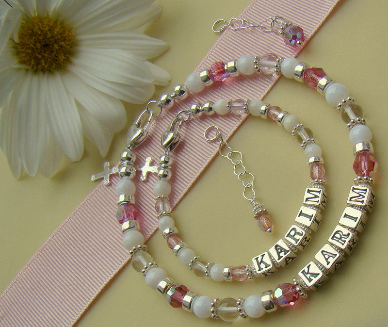 Mother and Daughter Mother of Pearl Natural Shell Crystal Quartz October Rose Cross Charm Baptism Birthstone Bracelets