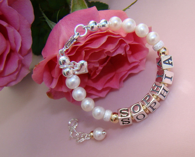 Freshwater White Cultured Pearls Gold Filled Sterling Custom Baby Name Bracelet