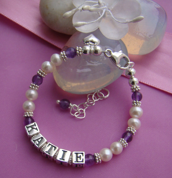White Freshwater Pearls Amethyst February Gemstone Birthstone Name Bracelet